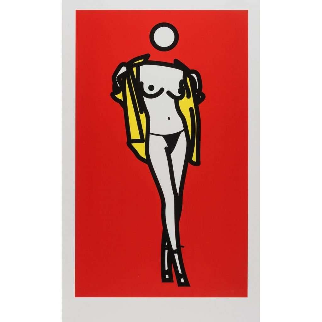 screen print-Julian Opie-Woman Taking Off Man's Shirt