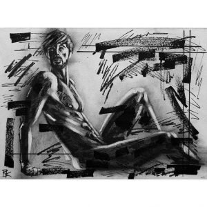 charcoal acrylic paint sketch-Brad Kenny Untitled 58 painting