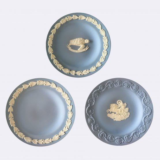Micucci Interiors - Wedgwood Blue Jasperware Set of Three Dishes
