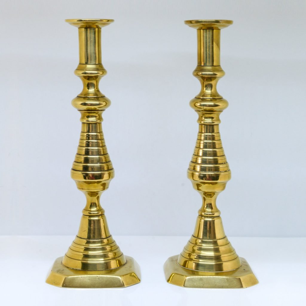 C19th Victorian Brass Candle Holders Pair-Brass candleholder Collectibles homedecor
