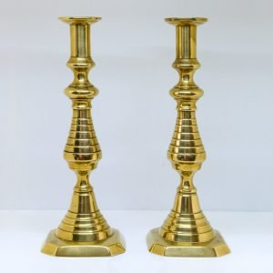 C19th Victorian Brass Candle Holders Pair