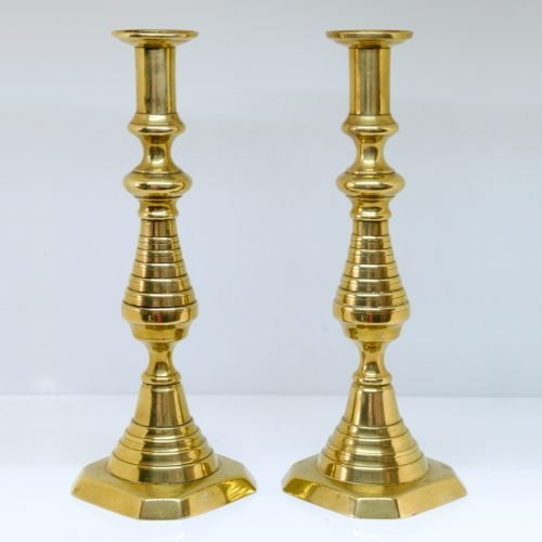 Micucci Interiors - Pair of C19th Victorian Brass Candle Holders