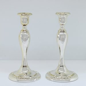 C20th Silver-Plated Candle Holders Pair-silver-plated Collectibles candleholder homedecor