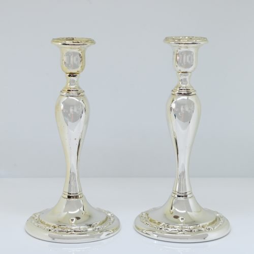 Micucci Interiors - Pair of C20th Silver Plated Candle Holders