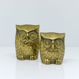 Set of Two Decorative Brass Owls