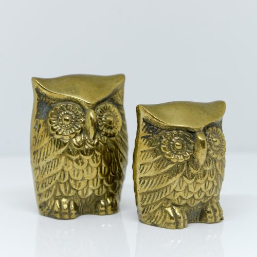 Micucci Interiors - Set of Two Decorative Brass Owls