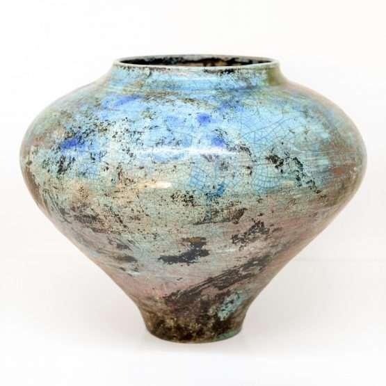 Micucci Interiors - Raku Large Vase Blue