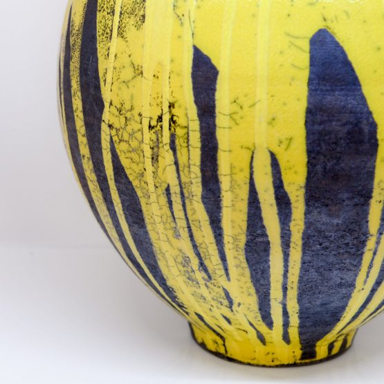 Micucci Interiors - Raku Oversized Vase Yellow & Black