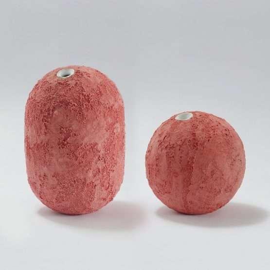 GEA Ceramic Vase-Coral Red-Claudio Pulicati Ceramics