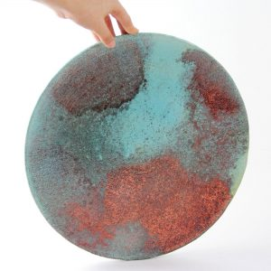 Raku Large Copper Plate-Ceramics