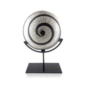Raku Spiral Display Plate-Denis Di Luca Ceramics-Raku ceramic artist