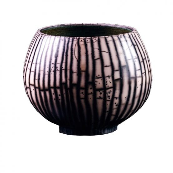 Micucci Interiors - Naked Raku Large Bowl Black & White