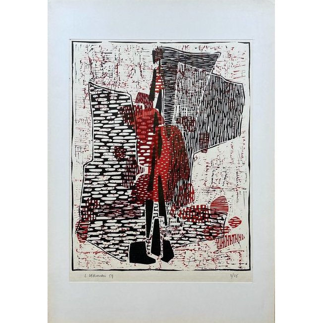 LUIGI VERONESI-Composizione 97-Collectibles woodcut handmade