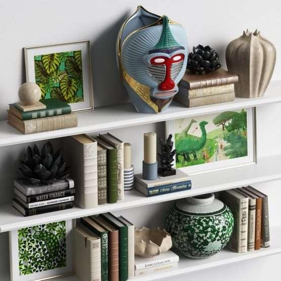 MANDRILLUS VASE on bookshelf side view