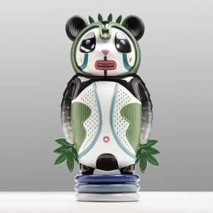 Bernardo The Panda-Elena Salmistraro Ceramics-Panda fine ceramic sculpture
