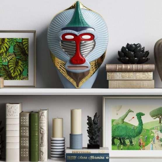 MANDRILLUS VASE on bookshelf